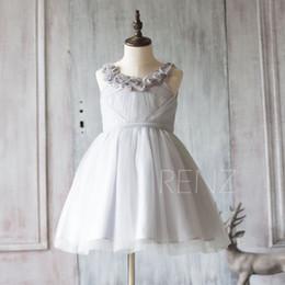 2020 Grey Junior Bridesmaid Dress, Light Gray Mesh Flower Girl Dress, a line Puffy dress knee length