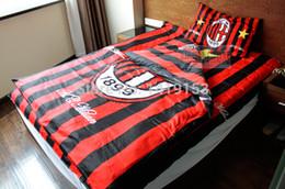 Wholesale AC Milan FC Soccer Piece Bed Clothes Single Bedding Pillow Case Duvet Cover Bed Sheet