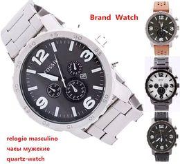 Wholesale Casual Quartz Watch fossiler Wristwatch men Fashion Army table Hour dial Popular Stianless Steel Watches men Relogio Feminino