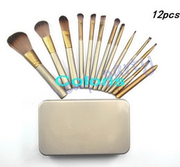 Makeup Gold 12Pcs Brushes Set With Iron Box Powder Brush Travel Brush Set ( 1 Pcs Lot)