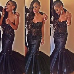 Sexy Black Mermaid Prom Dresses Crystal Beading Lace Boning Formal Evening Dress Long Girls Pageant Gowns Strapless Lace Up Back