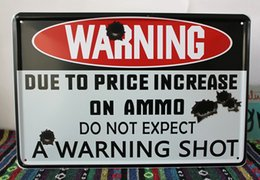 Wholesale A WARNING SHOT Warning board Vintage Music Poster Retro Painting Picture Cafe Bar Iron Metal Mural Wall Sticker Home Art Decor Tin sign