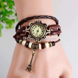 Compra Online Cuero reloj pulsera corazón-Mano de cuero de moda de punto de vestir Relojes Vintage torre de pulsera de la mariposa de la hoja señoras de las mujeres de las muchachas retro pendiente de Eiffel relojes de moda del corazón