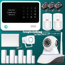 Wholesale WiFi Internet GSM GPRS SMS OLED Home Alarm System Security Kit HD IP Camera
