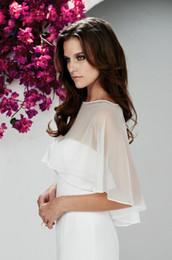 Chiffon Bridal Wraps Bateau Bolero White Wedding Jackets Ribbon Edge Free Shipping Bridal Cape Shrug Shawl Custom made