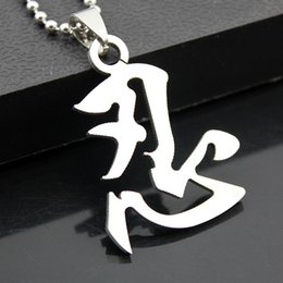 12PCS Classic Chinese Character Design Silver Tone Stainless Steel Kanji Symbol Ninja Pendant Necklace Gift MN253