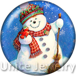 Wholesale AD1301010 mm Snap On Charms à vendre Bracelet Collier Hot résultats bricolage verre boutons Snap Bijoux Neon Snowman Conception noosa