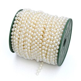 Wholesale 1 Roll Metres Faux Pearls Beads Chain Wedding Garland Spool Strand Party Table Centerpiece Curtain Bouquet Ornament wa072