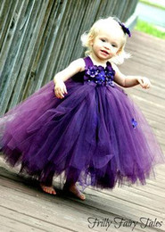 Ball Gown Flower Girls' Dresses With Hand Made Flowers Beaded Ball Gown Tulle Purple Formal Beach Wedding Puffy Dress Flowergirl