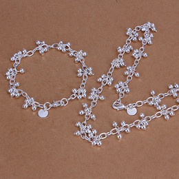 High grade 925 sterling silver Soo grapes hanging light piece jewelry set DFMSS212 brand new Factory direct 925 silver necklace bracelet