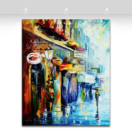 Modern Palette Knife Oil Painting Rainy Day Walking in The Street Picture Printed on Canvas for Living Room Office Wall Decor