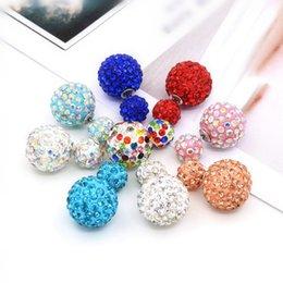 Wholesale Korea White Gold Earrings 14k - Star Jewerly 9 Colors Fashion Korea Pop Flower Crystal Cheapest Double Side Stud Earrings Big Pearl Earrings Free Ship 12PAIR LOT