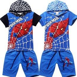 2017 spiderman ensembles de vêtements d'été enfants ensembles T-shirt pour enfants bande dessinée le sport manches courtes vêtements pour enfants à capuchon SPIDERMAN vêtements vêtements d'été pour enfants + jeans 2 pièces spiderman ensembles de vêtements d'été à vendre