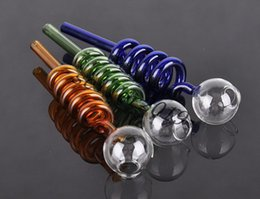 wholesale glass pipes Curved Glass Oil Burners Pipes with Different Colored Balancer Water Pipe smoking pipes hookahs bongs Color random