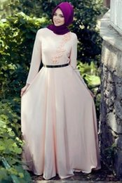 Top Quality Long Sleeves Turkish Women Formal Evening Dresses Muslim Islamic 3D Flowers Chiffon Party Gown Elegant Dubai Kaftan Abaya