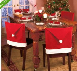 Wholesale AAAA quality Hot Sale Christmas Dining Chair Cover Christmas Accessories Party Supplies Santa Red Hat Chair Covers LJJD416