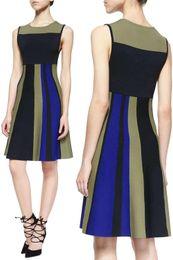 Sleeveless Colorblock Fit & Flare Dress Round Neckline Sleeveless Dresses 15101549