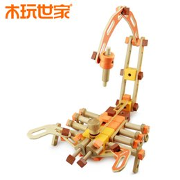 Wholesale ooden Toys DIY wooden Nut And Bolt Building Blocks Construction Kit make ancient Tool vehicle Assembling toys pieces set Birthday gift
