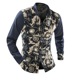 Wholesale-Autumn Long Sleeve Casual Men Shirt Floral Blue And White Porcelain Print Patchwork Unique Design Man Fashion Shirt