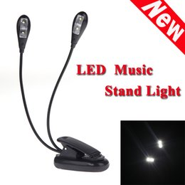 Wholesale Hot Sale Black Clip on Dual Arms LED Flexible Book Music Stand Light Lamp Guitar Parts Accessories Top Quality order lt no track