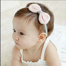 Wholesale Crochet For Hair Bows - Baby Hair Accessories Kid Crochet Bow Head Bands Infants 2015 Spring Summer Headbands For Girls Childrens Accessories Korean Headband C12334