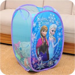 Wholesale Frozen Sisters Forever Pop Up hamper mesh toy child Cartoon laundry hamper the toy storage bin cartoon storage basket