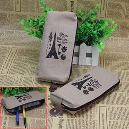 Wholesale-2 Pcs Eiffel Tower Canvas School Pen Pencil Bag Case Cosmetic Coin Purse Pouch