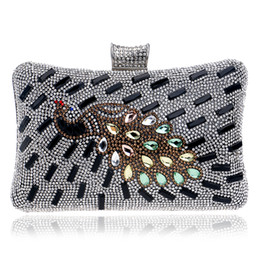 Wholesale-Peacock rhinestones women evening bags one side gold silver black chain shoulder handbags lady messenger clutch bags