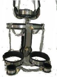 Gros hommes soutien-gorge à vendre-Vente en gros - CHAUD! Nouveau Hommes Homme Entièrement ajustable T-type en acier inoxydable ceinture de chasteté + Bra + anal plug + cathéter + Cuisse Cuff