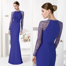 Wholesale Royal Blue Mermaid Mother Of The Bride Dresses Long Sleeves Beads Wedding Mother Dress For Bridal Aire Barcelon Spring Evening Prom Gown