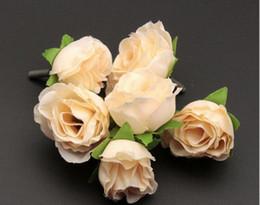 Hot ! 200Pcs Beige Color Tea Rose Flower Head Artificial Flowers Flower Arrangement Wedding Decorating 3cm
