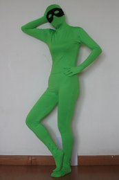 sexy green full body suit unisex lycra spandex zentai Morph suit zentai costume without the black eyes mask