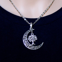 Wholesale Plating ancient Silver moon and tree of life restoring ancient ways necklace clavicle Style Retro Silver necklace Necklaces