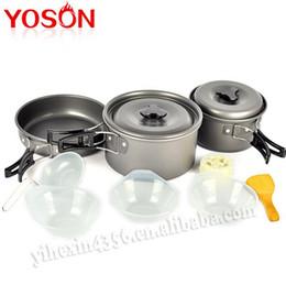 Wholesale 11pcs Outdoor Camping Cookware Hiking Equipment Cooking Picnic Bowl Pot Pan Set Eco Friendly