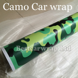 Matte   Glossy Snow Camo vinyl Car Wrapping film green yellow black camouflage sticker vehicle wrap film foil 1.52x 30m