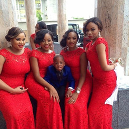 2015 Red Lace Sheath Bridesmaid Dresses Hollow Scoop Sleeves African Wedding Party Dress for Bridesmaid Floor Length Bridesmaid Gowns