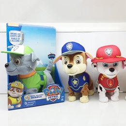 Wholesale Puppies Patrol Eletric Plush Toys Can Sing and Walk cm Marshall Skye Rockey Chase Rubble Zuma Best Gift for Children In Original Box