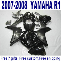 HOT ABS fairing kit for YAMAHA YZF R1 2007 2008 all black high quality fairings set YZF-R1 07 08 YQ35