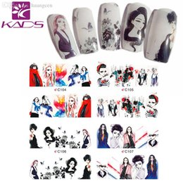 Wholesale LARGE C104 Set DESIGNS IN Water decal full cover Nail Stickers Beautiful Girls design white background design decal