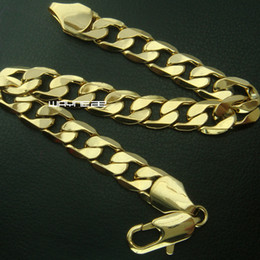 Jewelry gift MENS 18K SOLID GOLD FILLED FINISH CUBAN LINK Bracelet CHAIN b161