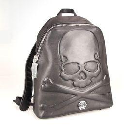 Top quality genuine leather designer men Backpack AM941528 Luxury High quaity Men's skull sport backpack