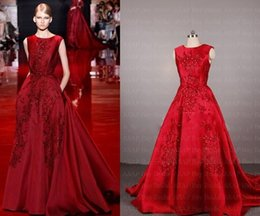 Real Sample Picture Elie Saab Evening Dress A Line Satin Evening Gown With Lace Appliques 2015 evening dresses prom gown Wedding Dress