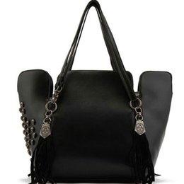 Wholesale-2015 new fashion vintage rivet tassel skull bucket bag portable shoulder bag Messenger bag woman