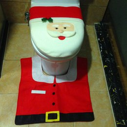 Wholesale Fairy Santa Bathroom Supplies Toilet Seats Cover Foot Pad Tank Slipcover Christmas New Year Accessories HX410