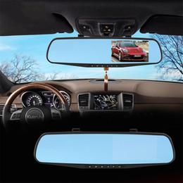 """Cámaras de lentes de porcelana en Línea-Espejo del coche DVR de doble cámara de 4,3 """"Dash doble lente de la leva del registrador de HD 1080P retrovisor dos cámaras de visión trasera Aparcamiento de vídeo videocámara 010230"""
