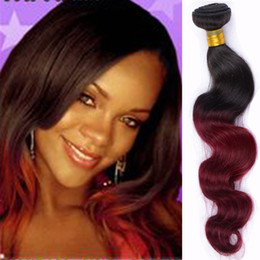 3PCS Lot Ombre Peruvian Virgin Hair Body Wave Hair Extension Colored 1B Burgundy Two Tone Hair Weaving 1b 99j Ombre Remy Human Hair Weave
