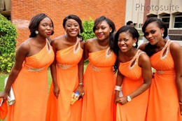 Elegant 2020 A Line One Shoulder Chiffon Bridesmaid Dress Sleeveless Chiffon Orange Cheap Junior Plus Size Bridesmaid Dresses With Beaded