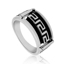 Wholesale Unisex L Stainless Steel Ring with Engraved Great Wall Design in Silver Polished Party Accessories Size R301