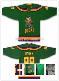 Wholesale Factory Outlet Good Green Adam Banks Jersey Mighty Ducks Movie Jerseys Game Worn Away Hockey Custom Any Name Number S XL