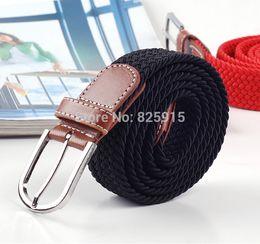 Wholesale-1Pcs Soild Black Elastic Woven Belt For Men Women New Plus Length Stretch Belt Longest Belt Unisex Elastic Belt Canvas 120cm